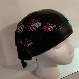 Leather/cotton skull cap